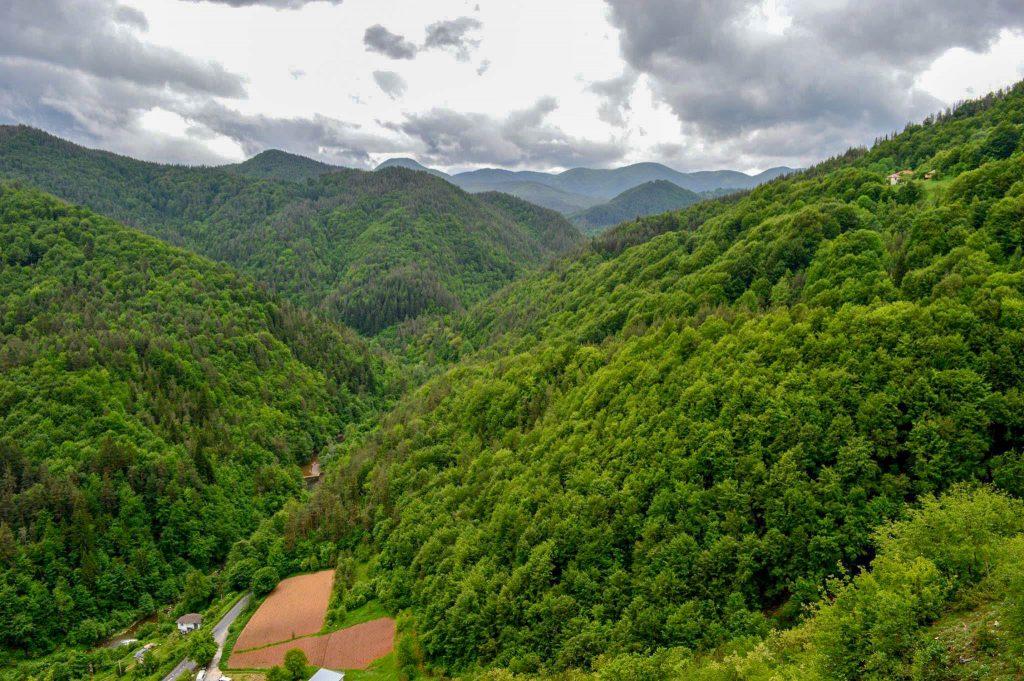 Гледката от входа на пещера Ухловица
